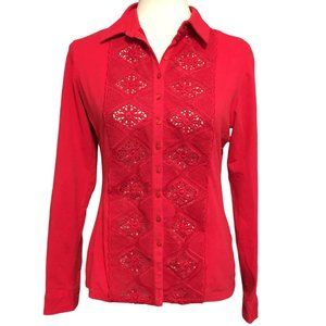 Anne Fontaine Red Vintage Top - Size 40 (8)